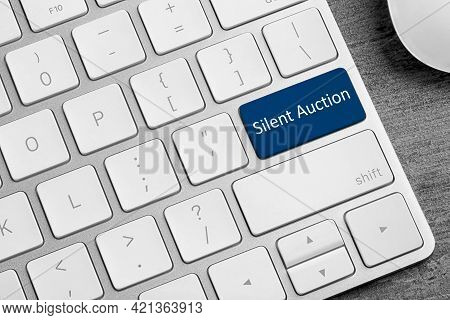 Modern Computer Keyboard With Text Silent Auction On Button, Closeup