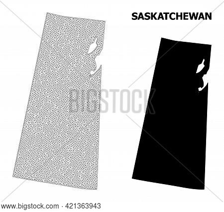 Polygonal Mesh Map Of Saskatchewan Province In High Detail Resolution. Mesh Lines, Triangles And Poi