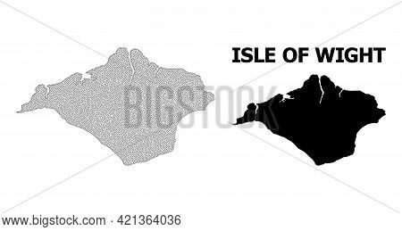 Polygonal Mesh Map Of Isle Of Wight In High Detail Resolution. Mesh Lines, Triangles And Points Form