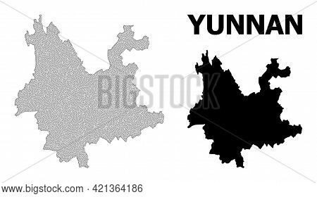Polygonal Mesh Map Of Yunnan Province In High Resolution. Mesh Lines, Triangles And Dots Form Map Of