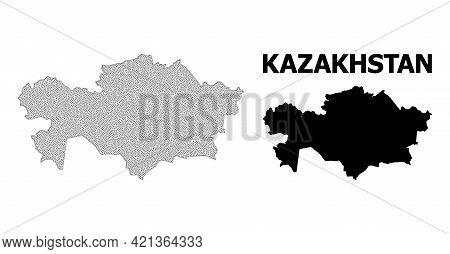 Polygonal Mesh Map Of Kazakhstan In High Detail Resolution. Mesh Lines, Triangles And Points Form Ma