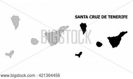 Polygonal Mesh Map Of Santa Cruz De Tenerife Province In High Resolution. Mesh Lines, Triangles And