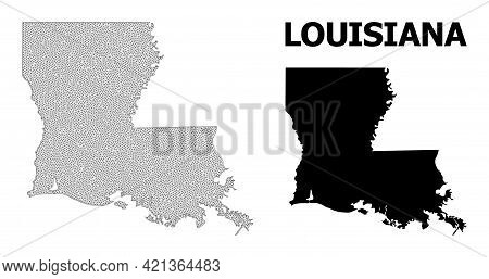 Polygonal Mesh Map Of Louisiana State In High Detail Resolution. Mesh Lines, Triangles And Dots Form