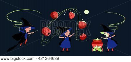 Set With A Little Cute Witch For Halloween. A Girl Flies On A Broomstick, Prepares A Potion, Conjure