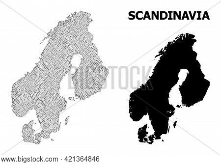 Polygonal Mesh Map Of Scandinavia In High Resolution. Mesh Lines, Triangles And Dots Form Map Of Sca
