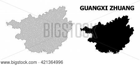 Polygonal Mesh Map Of Guangxi Zhuang Region In High Detail Resolution. Mesh Lines, Triangles And Poi