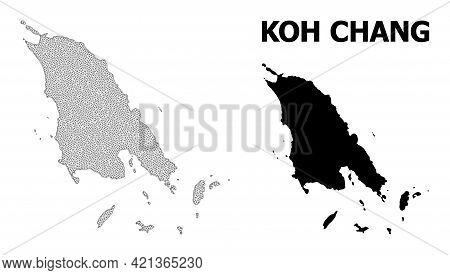 Polygonal Mesh Map Of Koh Chang In High Detail Resolution. Mesh Lines, Triangles And Dots Form Map O