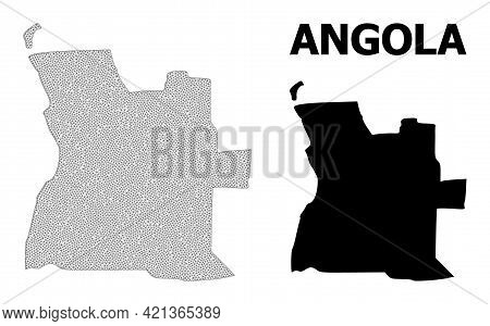 Polygonal Mesh Map Of Angola In High Resolution. Mesh Lines, Triangles And Dots Form Map Of Angola.