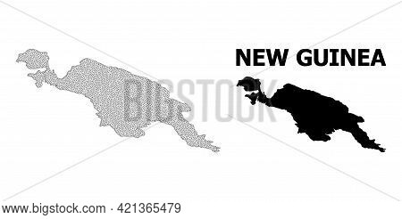 Polygonal Mesh Map Of New Guinea Island In High Detail Resolution. Mesh Lines, Triangles And Points