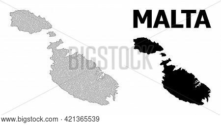 Polygonal Mesh Map Of Malta In High Resolution. Mesh Lines, Triangles And Points Form Map Of Malta.