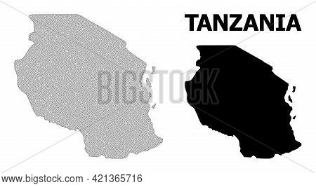 Polygonal Mesh Map Of Tanzania In High Detail Resolution. Mesh Lines, Triangles And Dots Form Map Of