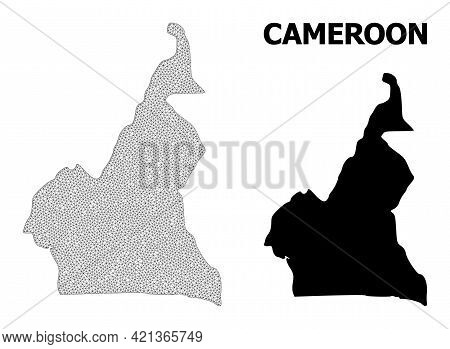 Polygonal Mesh Map Of Cameroon In High Detail Resolution. Mesh Lines, Triangles And Dots Form Map Of