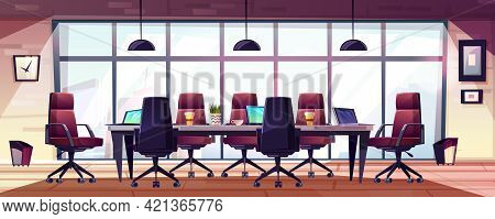 Business Meeting Room, Company Boardroom Interiour Cartoon Vector With Comfortable Armchairs, Laptop