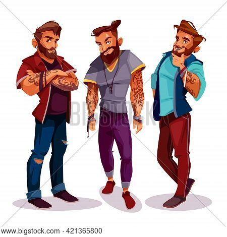 Vector Cartoon Arab Hipsters - Company Of Young People With Tattoos, Trendy Clothing. Muslims, Guys