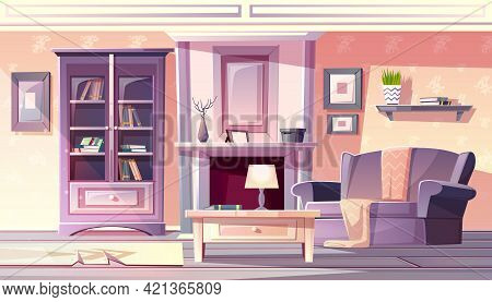 Living Room Interior Vector Illustration Of Apartment In Vintage French Provence Cozy Comfortable St