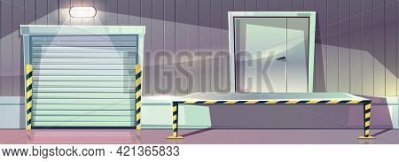 Warehouse With Roller Shutter Entrance Door And Unloading Dock Platform. Vector Illustration Of Stor