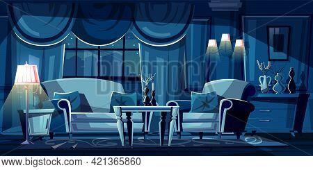 Vector Cartoon Illustration Of Dark Living Room At Night. Modern Interior With Sofa, Armchair And De