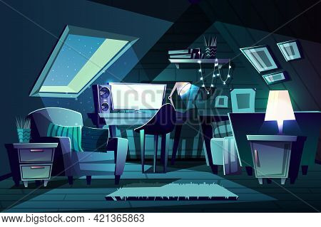 Vector Illustration Of Girl's Room At Night. Cartoon Garret With Window, Armchair With Cushion And F
