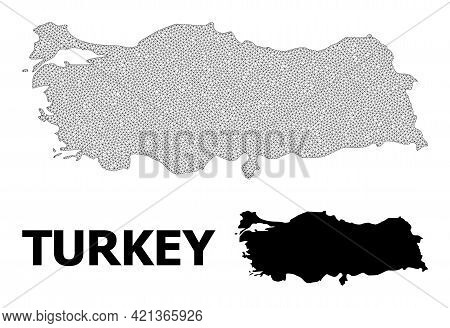 Polygonal Mesh Map Of Turkey In High Detail Resolution. Mesh Lines, Triangles And Points Form Map Of