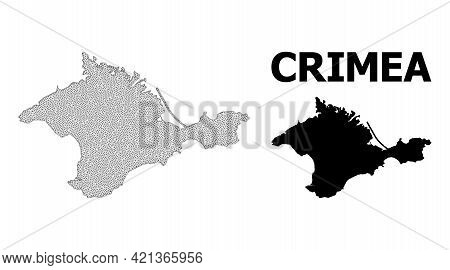 Polygonal Mesh Map Of Crimea In High Detail Resolution. Mesh Lines, Triangles And Dots Form Map Of C