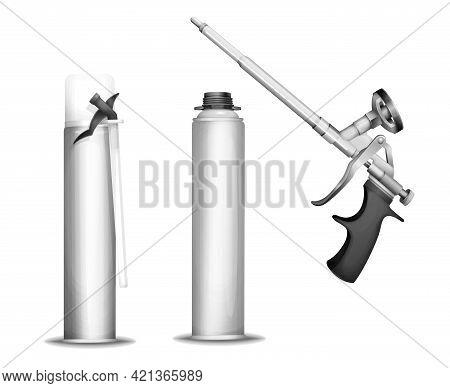 Construction Foam Bottle Vector Illustration Of 3d Pu Foam Sprayer Gun Or Pistol And Metallic Contai