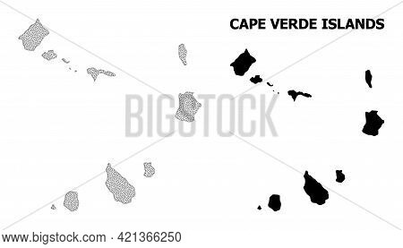 Polygonal Mesh Map Of Cape Verde Islands In High Detail Resolution. Mesh Lines, Triangles And Dots F