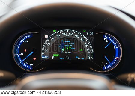 Car Instrument Panel Dashboard With Speedometer, Tachometer, Odometer