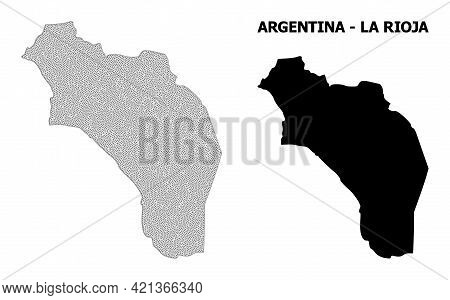 Polygonal Mesh Map Of Argentina - La Rioja In High Resolution. Mesh Lines, Triangles And Points Form