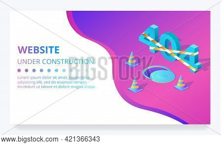 404 Error Web Page Or Site Under Construction Vector Illustration Template. Internet Technology Desi