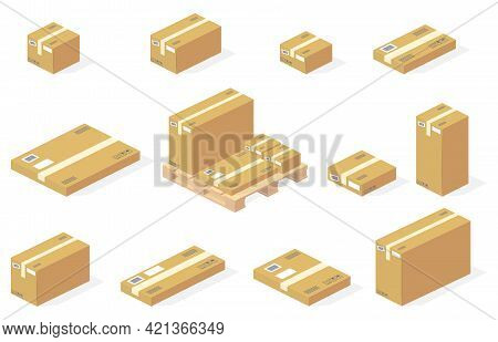 Parcels Carton Boxes On Warehouse Wooden Pallets Vector Illustration. Isometric Isolated Set Of Stor