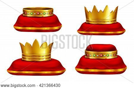 Royal Golden Crowns Inlaid With Precious Gemstones Lying On Red Ceremonial Pillow Realistic Vector I