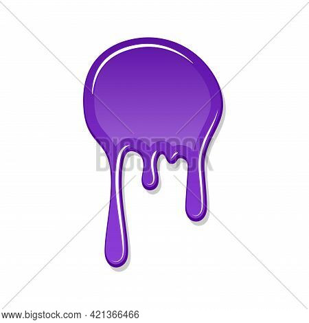 Drip Paint Spot 3d Isolated On White Background. Purple Ink Splash. Splatter Stain Texture. Dribble