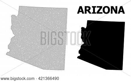 Polygonal Mesh Map Of Arizona State In High Detail Resolution. Mesh Lines, Triangles And Dots Form M