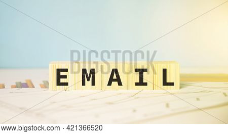 Email Text On Cubes. Business Correspondence Concept.