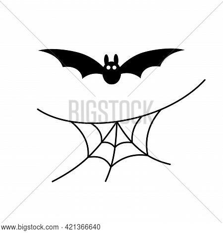 Scary Spiderweb Background. Black Cobweb, Bat, Isolated On White. Halloween Horror Decoration. Spook