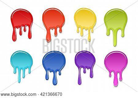 Drip Paint Spot 3d Set Isolated White Background. Rainbow Blob Ink Splash. Splatter Stain Texture. D