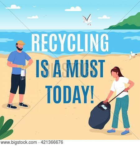 Environmental Protection Social Media Post Mockup. Recycling Is Must Phrase. Web Banner Design Templ