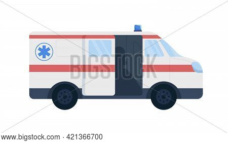 Emergency Vehicle Flat Color Vector Object. Paramedic Ambulance Car. Providing Life Support. Patient