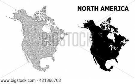 Polygonal Mesh Map Of North America In High Detail Resolution. Mesh Lines, Triangles And Dots Form M