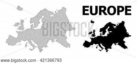 Polygonal Mesh Map Of Europe In High Detail Resolution. Mesh Lines, Triangles And Dots Form Map Of E