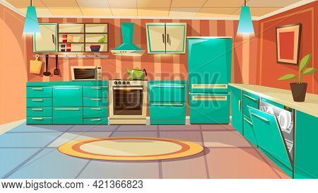 Vector Modern Kitchen Interior Background Template. Cartoon Dinner Room Illustration With Furniture