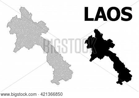 Polygonal Mesh Map Of Laos In High Resolution. Mesh Lines, Triangles And Dots Form Map Of Laos. High