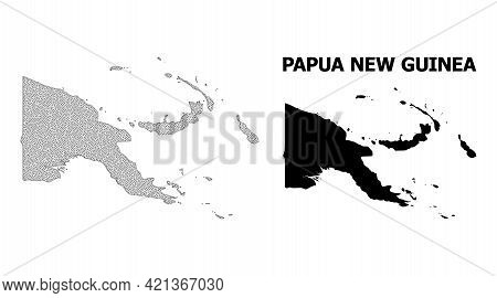 Polygonal Mesh Map Of Papua New Guinea In High Resolution. Mesh Lines, Triangles And Dots Form Map O