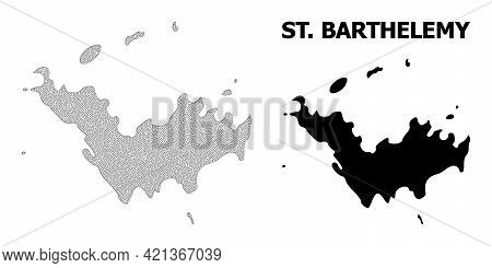 Polygonal Mesh Map Of Saint Barthelemy In High Detail Resolution. Mesh Lines, Triangles And Points F