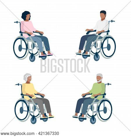 Disabled People Of Different Ages And Gender Sit In Wheelchairs. Set Of Vector Illustrations Of Men