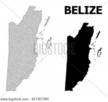 Polygonal Mesh Map Of Belize In High Detail Resolution. Mesh Lines, Triangles And Dots Form Map Of B