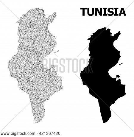 Polygonal Mesh Map Of Tunisia In High Resolution. Mesh Lines, Triangles And Dots Form Map Of Tunisia