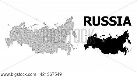 Polygonal Mesh Map Of Russia In High Detail Resolution. Mesh Lines, Triangles And Dots Form Map Of R