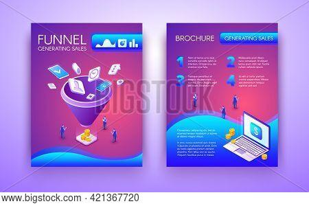 Funnel Generating Sales Business Brochure, Flyer Isometric Vector Template In Vibrant, Fluorescent C