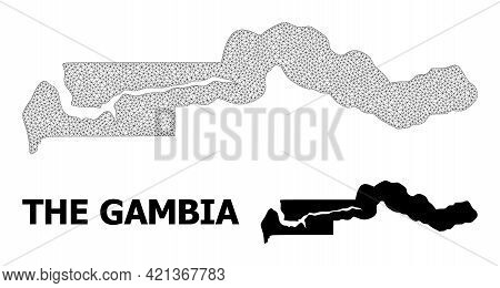 Polygonal Mesh Map Of The Gambia In High Resolution. Mesh Lines, Triangles And Dots Form Map Of The